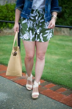 Mae Amor- Leaf Print soft shorts, Stuart Weitzman wedges, tan leather tote bag, white button down, Paige Premium Denim Jacket