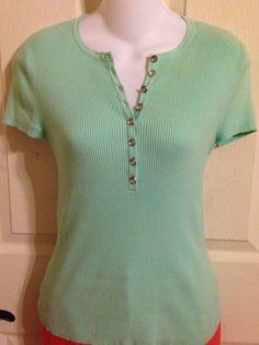 MICHAEL KORS Short Sleeve Ribbed Knit Seafoam Green Rhinestone Button Top Small #MichaelKors #KnitTop #Casual