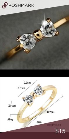 CZ Diamond Bow Ring Bijoux Zircon Bow Ring. CZ Diamond. Jewelry Rings
