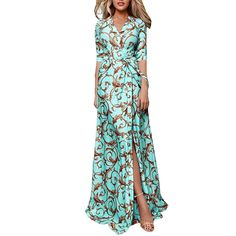 Women Floral Print Maxi Dresses 2020 Bohemian Half Sleeve V Neck Lace Up Dress Ladies Summer Split Beach Dresses Femme Vestidos Floral Print Maxi Dress, Maxi Wrap Dress, Lace Dress, Dresses For Less, Cheap Dresses, Beach Dresses, Maxi Dresses, Floral Dresses, Casual Dresses