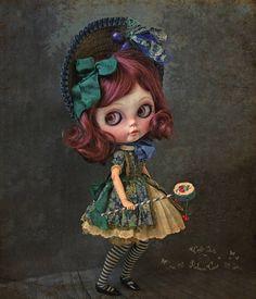 🍒 Cerise 🍒 #blythecustom #blythe #blythedoll #victorian #doll #art #artdoll #cherry #cherryblossom #drum #drummer #rebecacanodolls #rebecacano #cookiedolls | by Rebeca Cano ~ Cookie dolls
