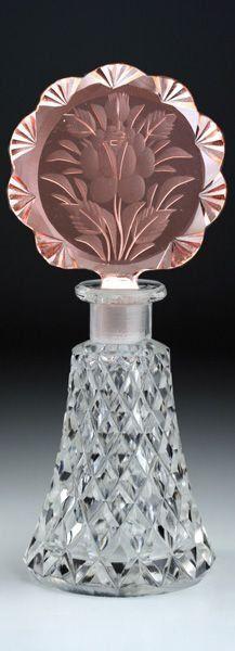 Antique Vintage Czech Art Deco Cut Glass Crystal Scent Perfume Bottle c1930's.