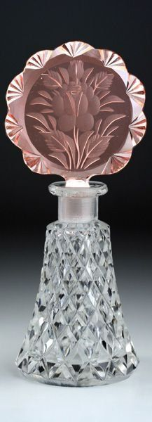 Czech Deco Cut Perfume Bottle C. 1930's