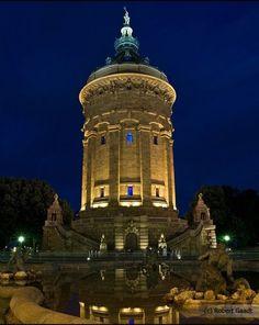 Das ist mein Zuhause!  Wasserturm Mannheim (blaue Stunde) by Robert Gaadt