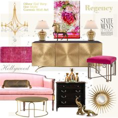 Hollywood Regency: Her Style Glam Living Room, Glam Room, Living Room Decor, Bedroom Decor, Estilo Hollywood Regency, Hollywood Regency Bedroom, Home Interior Design, Interior Decorating, Decorating Tips