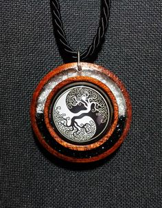 Yin Yang Tree of Life  Necklace in Reclaimed Red Cedar with Black and Silver Sparkly Resin + Free Shipping Worldwide, Tree Yin Yang Jewelry by OurArtyCreations on Etsy