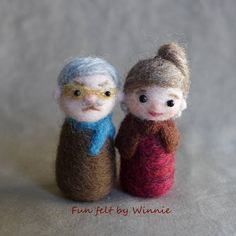 Needle felted Grandma and Grandpa set of 2 handmade OOAK dolls