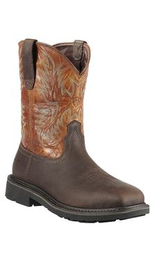 Ariat Workhog Men's Earth w/ Tall Beige Top Square Steel Toe ...