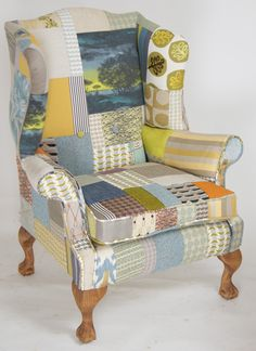 kelly swallow creates individual bespoke chairs sofas footstools in patchwork vintage fabrics linen grain sack individually handmade in uk - Chaise Eleven Patchwork Colors