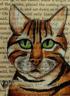 ACEO BENGAL CAT DRAWN ON A PAGE FROM A VINTAGE BOOK ON EBAY