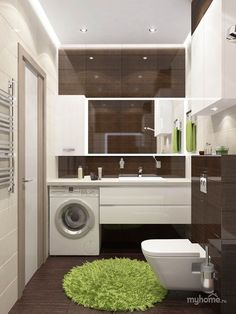 Most Popular Small Bathroom Remodel Ideas on a Budget in 2018 This beautiful look was created with cool colors, and a change of layout. Laundry In Bathroom, Bathroom Furniture, Bathroom Tub, Trendy Bathroom, Modern Loft, Bathroom Layout, Bathroom Interior, Modern Bathroom, Amazing Bathrooms