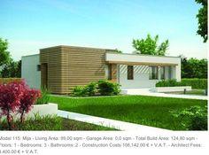 Costa del Sol properties: Model 115: Mija - Living Area: 99,00 sqm - Garage Area: 0,0 sqm - Total Build Area: 124,80 sqm - Floors: 1 - Bedrooms: 3 - Bathrooms: 2 - Construction Costs:108,142.00 € + V.A.T. - Architect Fees: 4,400.00 € + V.A.T.