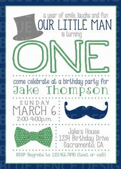 boy birthday party invitation first birthday little