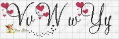 ENCANTOS EM PONTO CRUZ: Monograma em Ponto Cruz de Coração