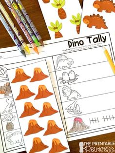 Kindergarten Dinosaur Centers for Math and Literacy Activities - Use this 47 page resource with your Kindergarten classroom or homeschool students. These no prep practice pages are great for literacy centers, math stations, activities, extra practice, review, and much more! Great for remediation, homework, or as an additional center. You get beginning & ending sounds, write the room, sentences, adding, tally marks, graphing, and more. Click through for details. Dinosaur Activities, Kindergarten Math Activities, Counting Activities, Preschool Curriculum, Kindergarten Classroom, Homeschool, Math Stations, Literacy Centers, Dinosaur Classroom