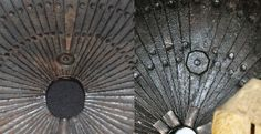 """62-plate kabuto, detail view comparison showing a """"byo"""", a small washer seen on the inner front part of the helmet which overlaps the two plates on either side of the central plate, on the left a Saotome Kabuto, on the right possibly a Myochin kabuto."""