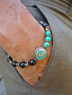Men's Spiritual Tibetan Om Bracelet with Semi Precious Onyx, Imperial Jasper, Antique Om Tibetan Silver and Bronze Om Turquoise Inlay Bead