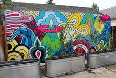 Ideas For Backyard Wall Mural Street Art Mural Wall Art, Mural Painting, Graffiti Art, Classe D'art, Art Public, School Murals, Murals Street Art, Fence Art, Wall Drawing