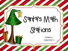 Three math stations which include games and activities for:  PLACE VALUE - using gifts as base ten. Includes a game and a worksheet using higher order thinking skills.  MEASUREMENT - Measure the distance of the trees in the forest for Santa. Include inches and centimeters.  MONEY - Play the game scoot to determine if your students can count coins.
