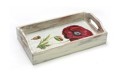 "Red Poppy Flower Serving Tray,   Hostess gift, Serving Tray - 11 ""x  6,5""x  1.8 ',  Decoupage  Serving Tray, Vintage World map."