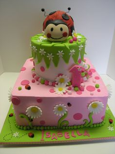 "10"" square with 6"" round frosted with buttercream and fondant accents. Ladybug is a smash cake for the birthday girl!"