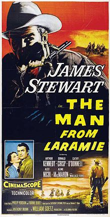 The Man from Laramie is a 1955 American Western film directed by Anthony Mann and starring James Stewart, Arthur Kennedy, Donald Crisp, and Cathy O'Donnell.  Written by Philip Yordan and Frank Burt, the film is about a stranger who defies a local cattle baron and his sadistic son by working for one of his oldest rivals.[2] The film was adapted from a story of the same title by Thomas T. Flynn, first published in The Saturday Evening Post in 1954, and thereafter as a novel in 1955.