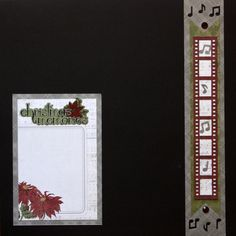 img_1429 Cut a 2″ x 12″ base with grey plaid paper. Using music notes cartridge, punch just the ends.  Cut a 1-1/2″ x 10″ border with green paper. Notch the ends with scissors and add to base.  Cut a strip of music note paper to 1-1/8″ x 9″. Using filmstrip cartridge, punch a border with red plaid paper. Trim to 9-1/4″ long and adhere to top of music note strip. Add as shown to base.  Apply red gems and music notes as shown.