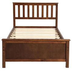 Boyel Living Walnut Wood Single Platform Bed with Headboard, Footboard and Wood Slat Support, Brown Solid Wood Platform Bed, Twin Platform Bed, Upholstered Platform Bed, Wooden Bed Frames, Wooden Slats, Wood Beds, Wood Headboard, Headboard And Footboard, Headboards For Beds