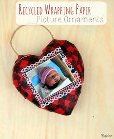 Recycled Wrapping Paper Picture Ornaments