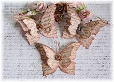 Vintage Script Shabby Handmade Butterflies for Scrapbooking, Altered Art, Cardmaking, Mixed Media