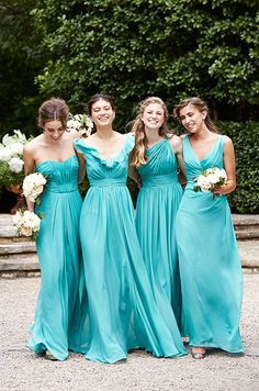 Aqua blue color bridesmaids dresses by Wtoo, Spring 2015