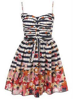 Flower, black and white stripe dress.