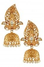 Tribebyamrapali-Silver Gold Plated Crystal Pearl Paisley Cut Out Jhumki