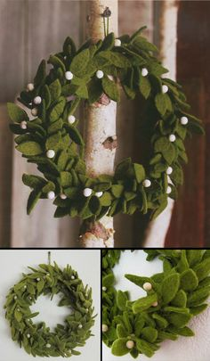 Check out the deal on Green Felt Wreath with Mistletoe Accents / Felt Christmas Wreath at NOVA68.com