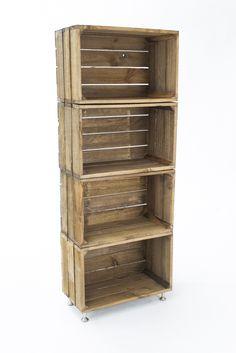 estantería de madera envejecida ( 4 cajas )