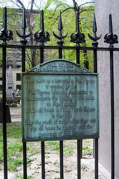 Boston Freedom Trail, Granary Burial Ground, Paul Revere tablet