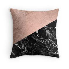 Chic modern rose gold black marble color block