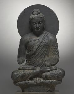 Seated Buddha  Pakistan, Gandhara, Kushan Period (1st century-320)    Date: 1st half of the 3rd Century    Medium: gray schist