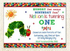 Very Hungry Caterpillar Birthday Party Invitation by WittyParties
