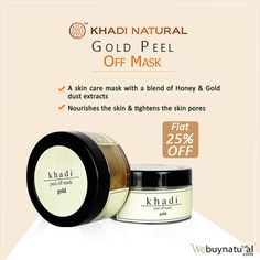 Khadi Natural Gold Peel off Mask is an effective face pack with a powerful blend of pure honey and gold dust extract. This face pack is also enriched with natural oils that nourish the skin and tightens the pores. #KhadiNatural #NaturalFaceMask