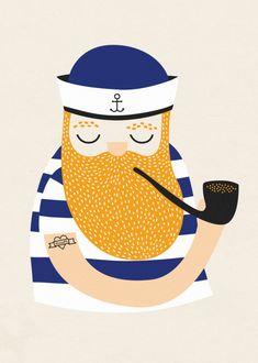 Little Sailor poster - Michelle Carlslund Illustration Meer Illustration, Sailor Illustration, Vintage Illustration, Character Illustration, Graphic Illustration, A4 Poster, Poster Prints, Illustrator, Art Mignon