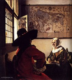 between - Vermeer - Johannes Vermeer - The soldier and the laughing girl - (De Soldaat en het lachende meisje) - Oil on canvas x 46 cm. - Frick Collection, New York Johannes Vermeer, Vermeer Paintings, Oil On Canvas, Canvas Art, Painting Prints, Art Prints, Framed Prints, Dutch Golden Age, Art History
