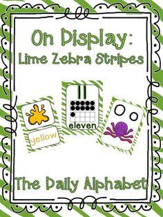 Lime Zebra Print Classroom Theme