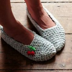 Crocheted Slippers from The Makery book, adorned with crochet cherries!