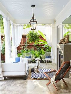 Outdoor Room - Covered Porch with Lantern