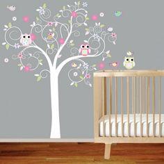 Babyzimmer grau Wand Baum-Wandtattoo Eule