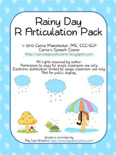 Speechie Freebies: Rainy Day R Articulation Pack Freebie. Pinned by SOS Inc. Resources. Follow all our boards at pinterest.com/sostherapy for therapy resources.