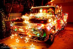 We love this truck, complete with #Santa at the wheel! #Christmas
