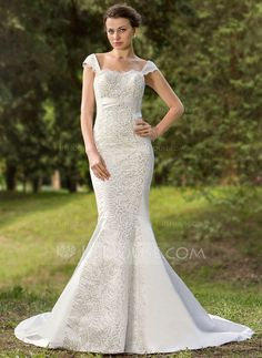 Wedding Dresses - $186.99 - Mermaid Sweetheart Court Train Satin Wedding Dress With Lace Sequins (002012088) http://jjshouse.com/Mermaid-Sweetheart-Court-Train-Satin-Wedding-Dress-With-Lace-Sequins-002012088-g12088
