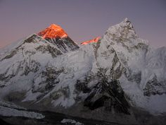 Mount Everest As I looked on from my Kala Patthar viewpoint, I witnessed the final rays of the sun illuminating the summit of Mount Everest.